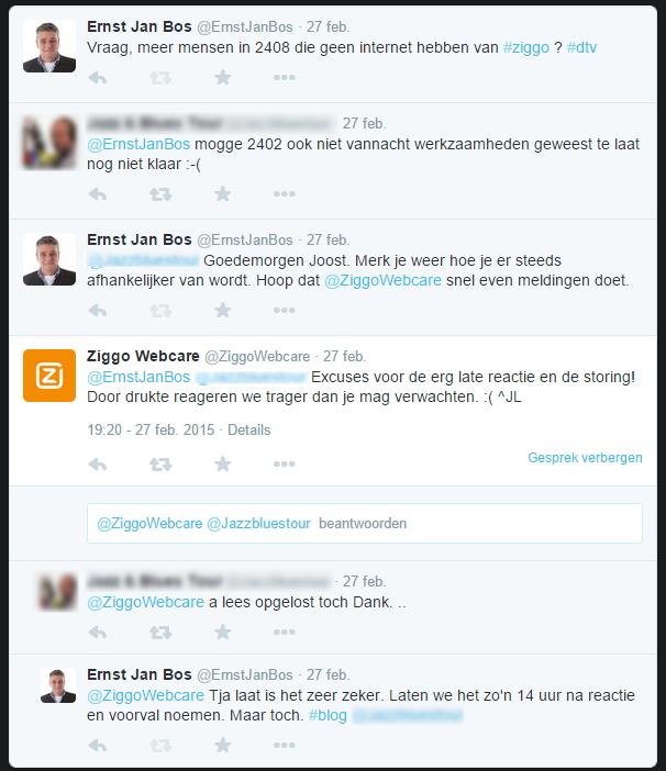 Twitter gesprek Ziggo